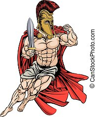 Spartan Warrior - An illustration of a muscular strong...