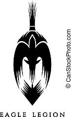 spartan warrior head with eagle vector illustration