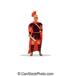 Spartan warrior in a helmet holding sword. Vector Illustration.
