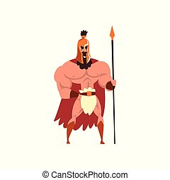 Spartan warrior in golden armor and red cape with spear vector Illustration on a white background