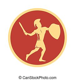Spartan warrior in the traditional helmet on his head with sword and shield .
