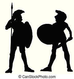 Spartan warrior silhouettes on white background, vector...