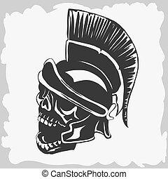 Spartan warrior skull in ancient helmet. Vector