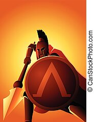 Spartan warrior with his spear and shield