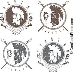 spartan warrior with spears ,swords and shield vintage labels vector set