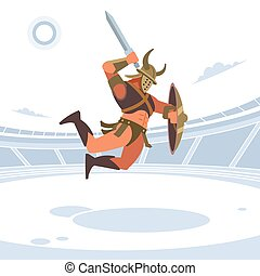 Spartan warriors fight in the arena of gladiators. Gladiator with a shield beats a sword on top. Vector isolated illustration. Flat style