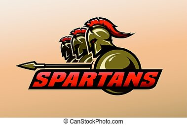 Spartan warriors. Logo, symbol. - Three spartan warriors....