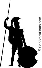 Spartan. Warriors Theme - Spartan warrior with shield and...