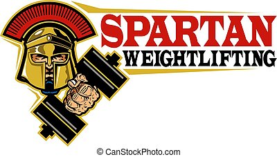 spartan weightlifting team design with mascot and dumbbell...