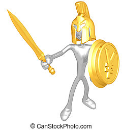 Spartan With Gold Coin Shield