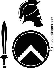 spartans, capacete, espada, escudo
