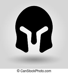 Spartan Helmet full face silhouette, symbol of gladiator soldier or greek warrior or roman legionary, helmet hero sign, vector
