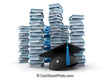 sparviere, libri, pila, graduazione