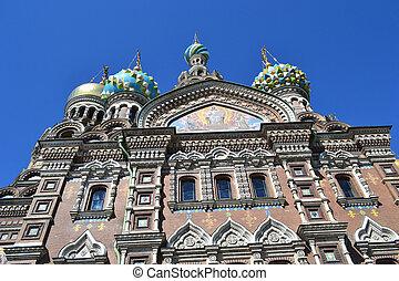 Spas-na-Krovi over blue sky in St.Petersburg, Russia