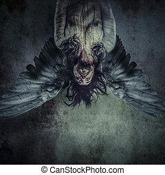 spasiony anioł, od, śmierć, samiec, wzór, zły, ślepy
