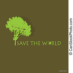 spasit, ta, world., vektor, ilustrace