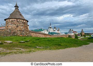 spaso-preobrazhensky, solovetsky, klooster, in, de, zomer,...
