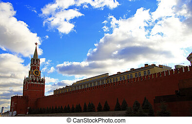 Spasskaya clock tower in the Kremlin Red Square Moscow