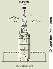 spasskaya, cremlino, mosca, russia., punto di riferimento, torre, icona