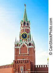 Spasskaya Tower against the blue sky
