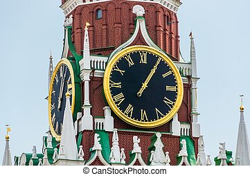 Spasskaya tower and large clock of Kremlin on Red Square in Mosc