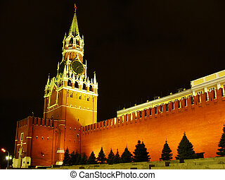 Spasskaya Tower at night, Moscow Kremlin, Russia