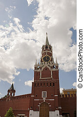 Spasskaya tower at Red Square in Moscow, Russia
