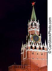 Spasskaya Tower of Kremlin at night