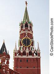 Spasskaya Tower of Kremlin in Moscow city