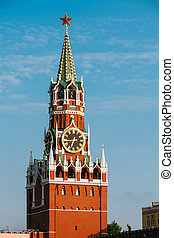 Kremlin On Red Square In Moscow, Russia. Blue Sky Background
