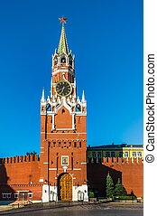 Spasskaya tower of Kremlin on Red Square in Moscow