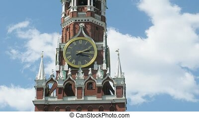 Spasskaya Tower of Moscow Kremlin in Russia. Time lapse.