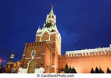Spassky and Nabatnaya Towers of Moscow Kremlin at Red Square in Moscow, Russia
