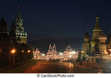 Spassky Tower and St Basil's Cathedral in Red Square at summer night in Moscow, Russia