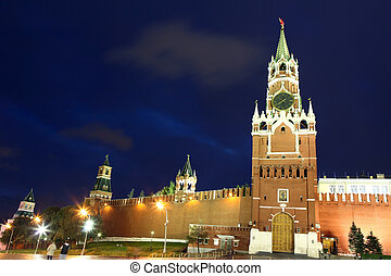 Spassky, Tsarskaya and Nabatnaya Towers of Moscow Kremlin at Red Square in Moscow, Russia