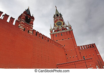Spasskya and Tsarskaya Towers of Moscow Kremlin at Red Square in Moscow, Russia