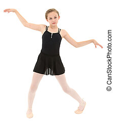 Spastic little dancer girl dancing poorly over white with...