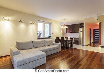 spatiös, lägenhet, -, vardagsrum