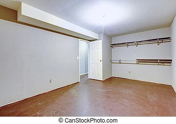spatiös, tom, garage, inre, med, två, hyllor, på, den, wall.