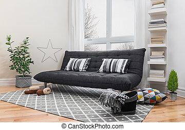 spatiös, vardagsrum, med, nymodig, dekor