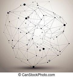 Spatial vector monochrome digital object, 3d technology...