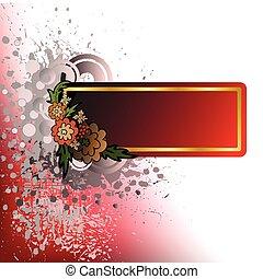 spattered, bloemen, achtergrond, bruine