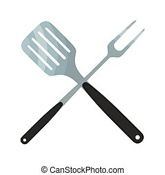 Spatula, barbecue fork. Logo for barbecue, grill party. Flat style.
