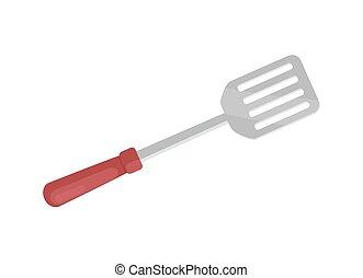Spatula for Barbecue Closeup Vector Illustration