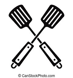 Spatula in black simple silhouette style icons vector illustration for design and web isolated