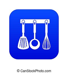 Spatula, ladle and whisk, kitchen tools icon digital blue
