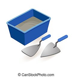 Spatula, mortar. Isometric construction tools isolated on white.