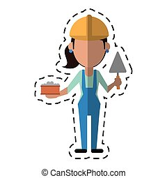 spatule, construction, femme, brique, dessin animé