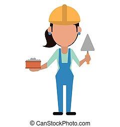 spatule, construction, femme, brique