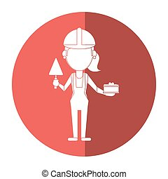 spatule, construction, femme, ombre, brique